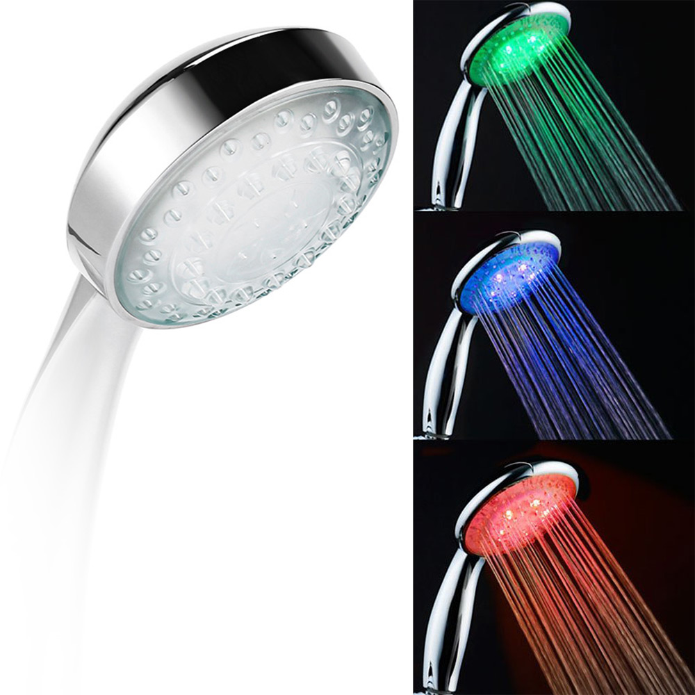 Fashion Novelty Practical Colorful LED Temperature Control 3 Colors Light Bathroom Hand Shower Head  <br><br>Aliexpress