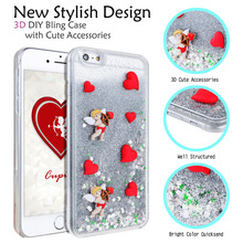 DIY Bling Case Cute Accessories Hard Back Cover For iPhone6 6s plus flowing Dynamic Liquid Glitter Sand Quicksand Star Paillette
