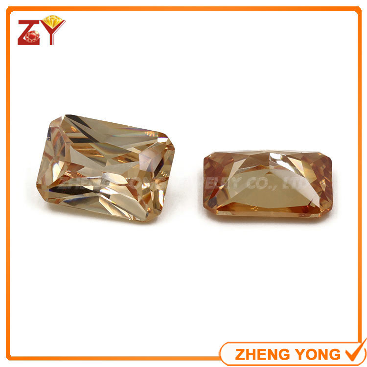 Luster 8*4mm Rectangle Shape Champagne CZ Zirconia Loose Stone For Jewelry<br><br>Aliexpress