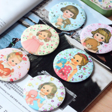 1Pcs Vintage Paper Doll Girls Pocket Hand Cosmetic Mirrors Portable Round Cartoon Make-Up Mirror H0214(China (Mainland))