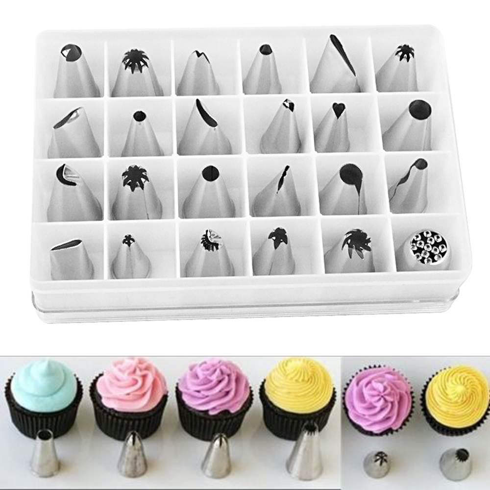 24pcs icing 1 box set tips cupcake cake decorating diy for Decorating tips