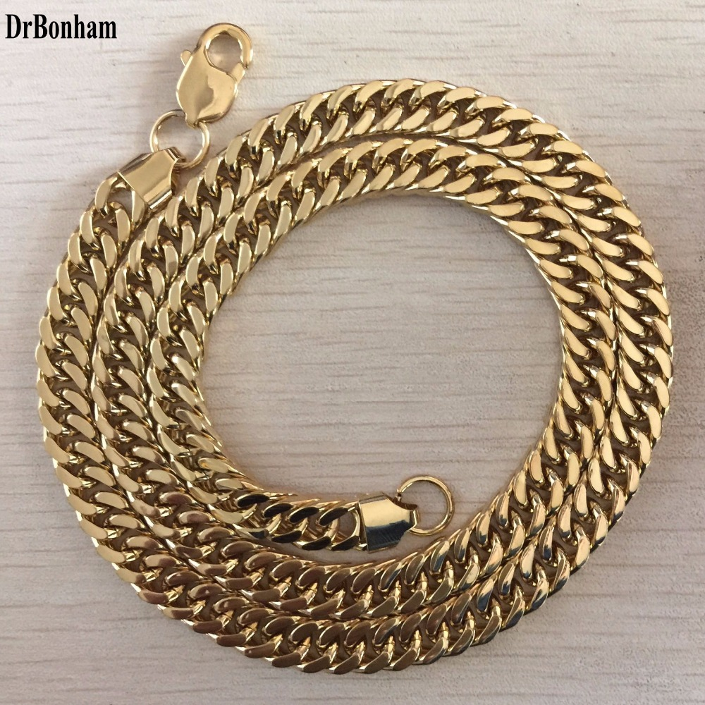 DrBonham 10MM 60cm Curb Cuban Gold Filled Necklace MENS Boys Chain High Quality Jewelry Gift(China (Mainland))