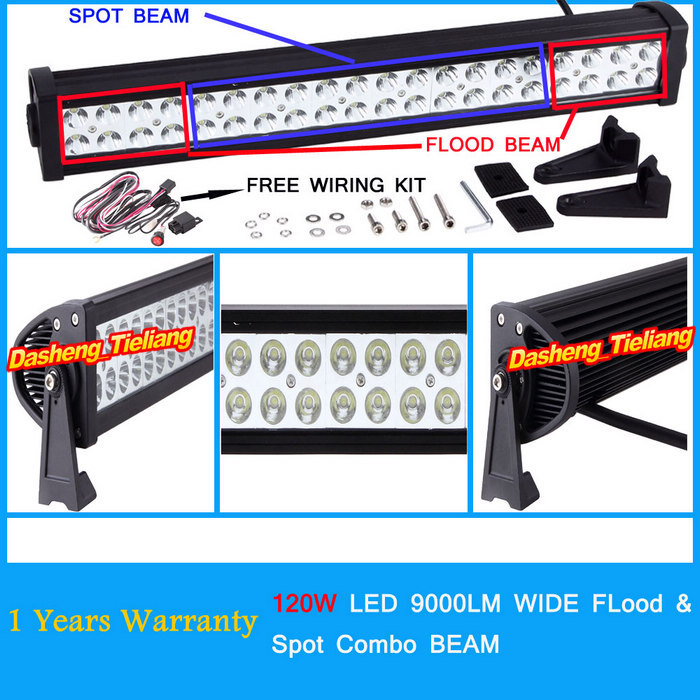 120W 24'' CREE 12V 24V 9000LM LED Work Lights Bar Offroad Driving Lamp HYBIRD Flood Spot Combo Beam Truck SUV Boat 4X4 4WD ATV(China (Mainland))