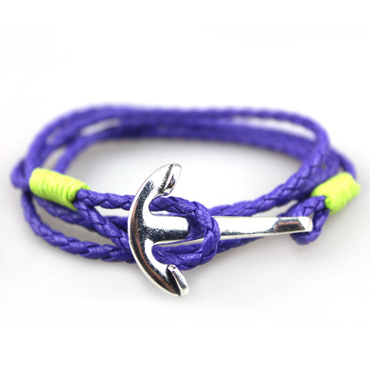 Free Shipping Best Fashion New KFHY178 Arrival Jewelry 80cm PU Leather Bracelet Men Anchor For Women