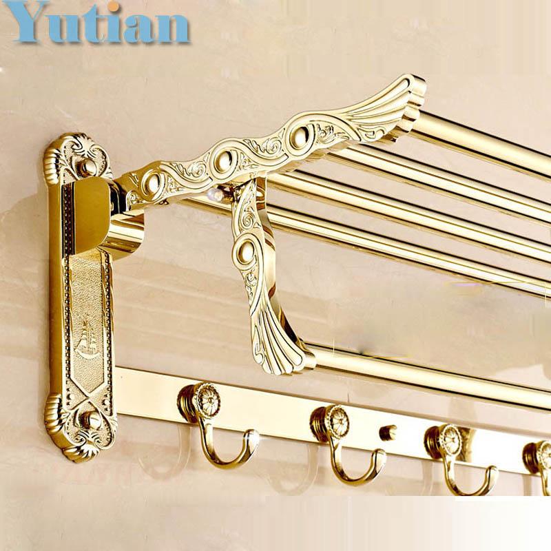 FREE SHIPPING, Bathroom towel holder, Stainless steel +zinc alloy Gold towel rack,60cm bath towel rack ,YT-4012(China (Mainland))