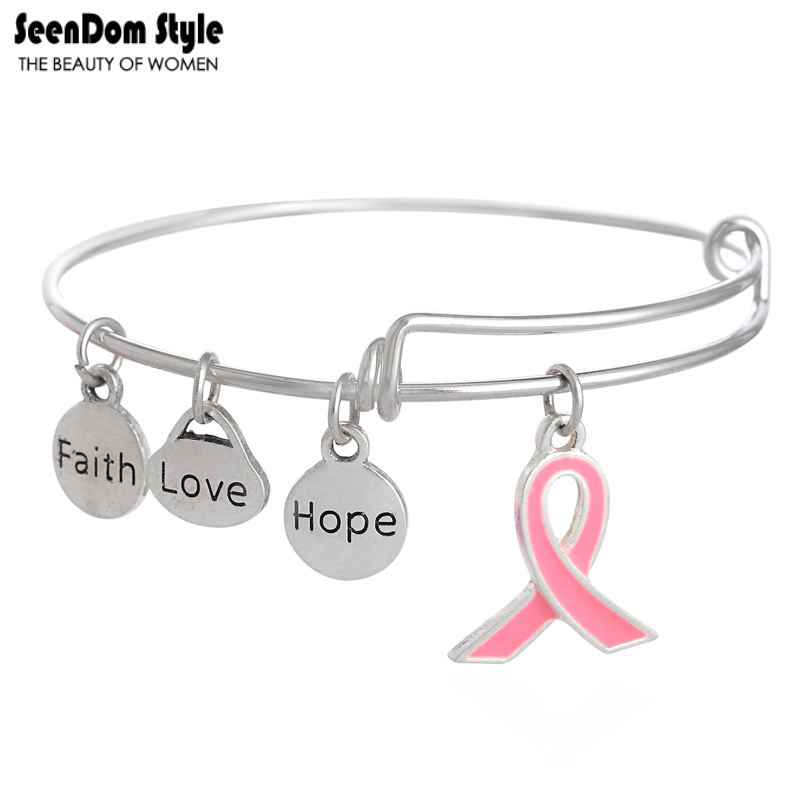 Antique Silver Enamel Pink Ribbon Dangle Faith Love Hope Charms Alex Style Bracelet and Fits Any Breast Cancer Awareness Events(China (Mainland))