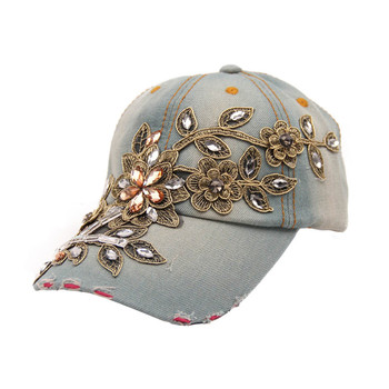 Durable Summer Style New Women Diamond Flower Baseball Caps Fast Shipping