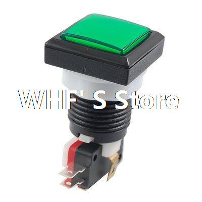 Green Square Push Button LED SPDT Momentary AC 250V 3A Micro Switch(China (Mainland))