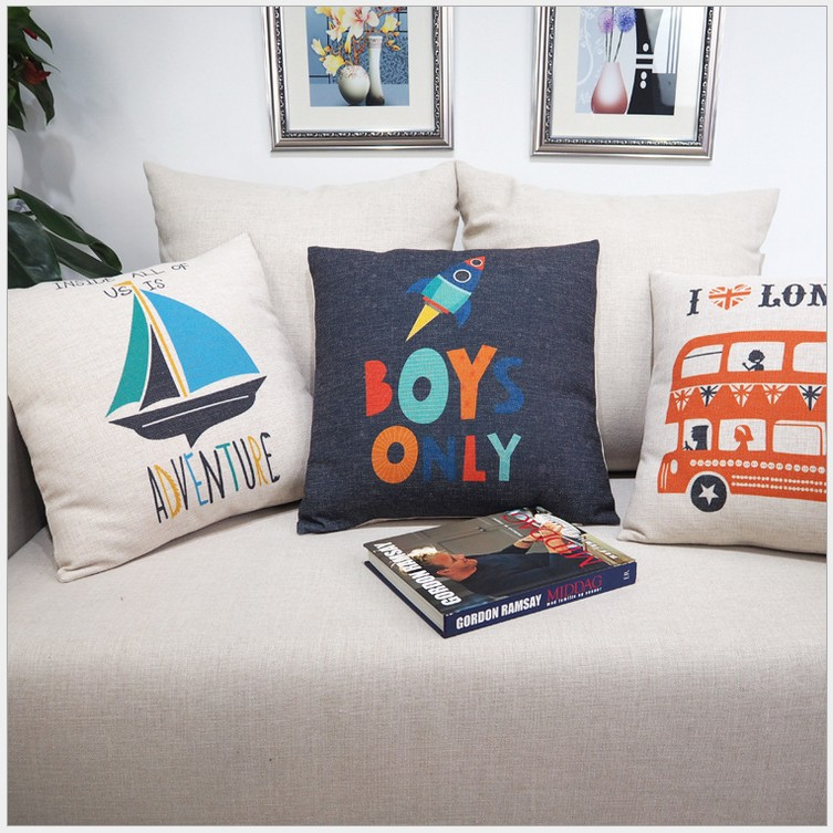Kids Cotton linen pillow case English words Cartoons printed Decorative Home Cushion Comfortable pillowcase Back Throw
