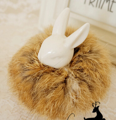 H1501052-Fashion women girl hairwear, natural color Real Genuine rabbit Fur Hair Band Tail Accessories ,(China (Mainland))
