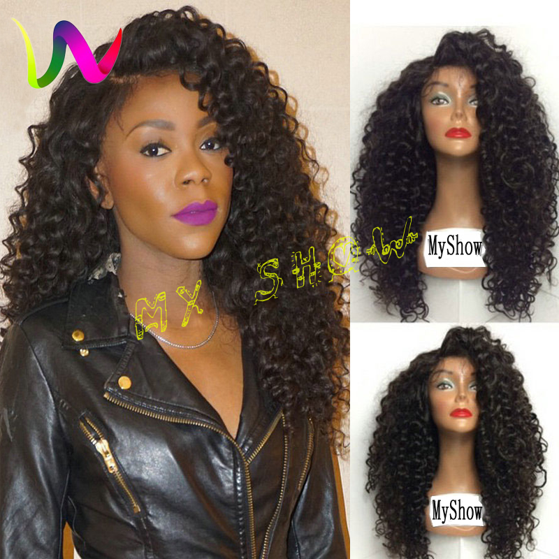Long Curly Synthetic Lace Front Wig Best Synthetic Wig Lace Front Black Wig Heat Resistant Cheap Lace Front Curly Synthetic Wigs(China (Mainland))