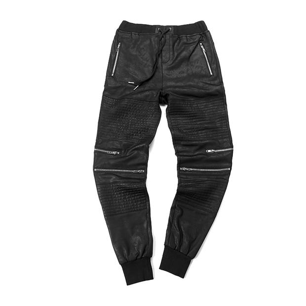 Faux cuir pantalon slim genou zip style fashion tendance pantalons hommes casual pantalons biker Vetement tendance pantalon fashion style militaire