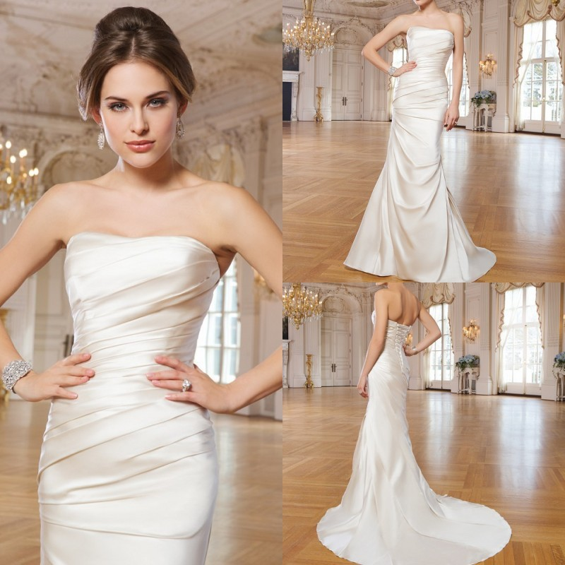 2015 new arrival simple ruched wedding dresses satin court for Simple courthouse wedding dress