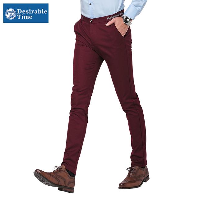 Мужская бургундия брюки размер 28 - 36 2016 мода мужчины уменьшают подходящую черный костюм брюки костюм Pantalon Homme DT131
