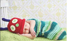 Newborn crochet baby costume photography props knitting baby hat bow infant baby photo props  new born baby girls cute outfits(China (Mainland))