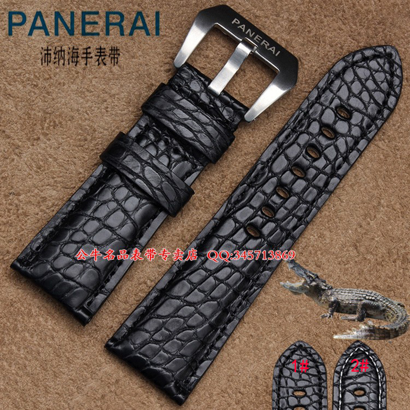 22mm 24mm 26mm Handmade Mens Black Genuine Alligator Leather Watch Strap Band Fits Panera Watches