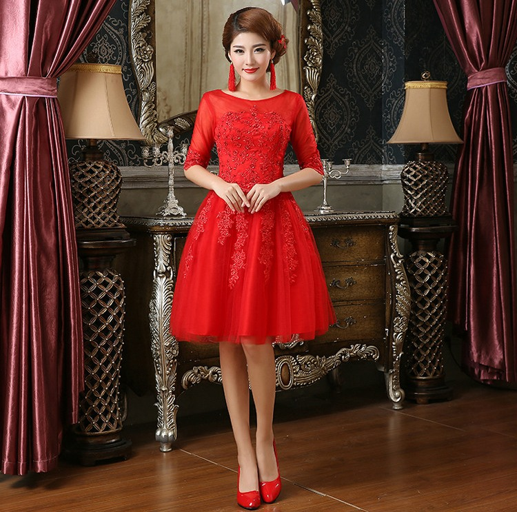 Free shipping Red Bride short Chinese traditional Dresses wedding for party girl female women fashion Clothes LF233Duang(China (Mainland))