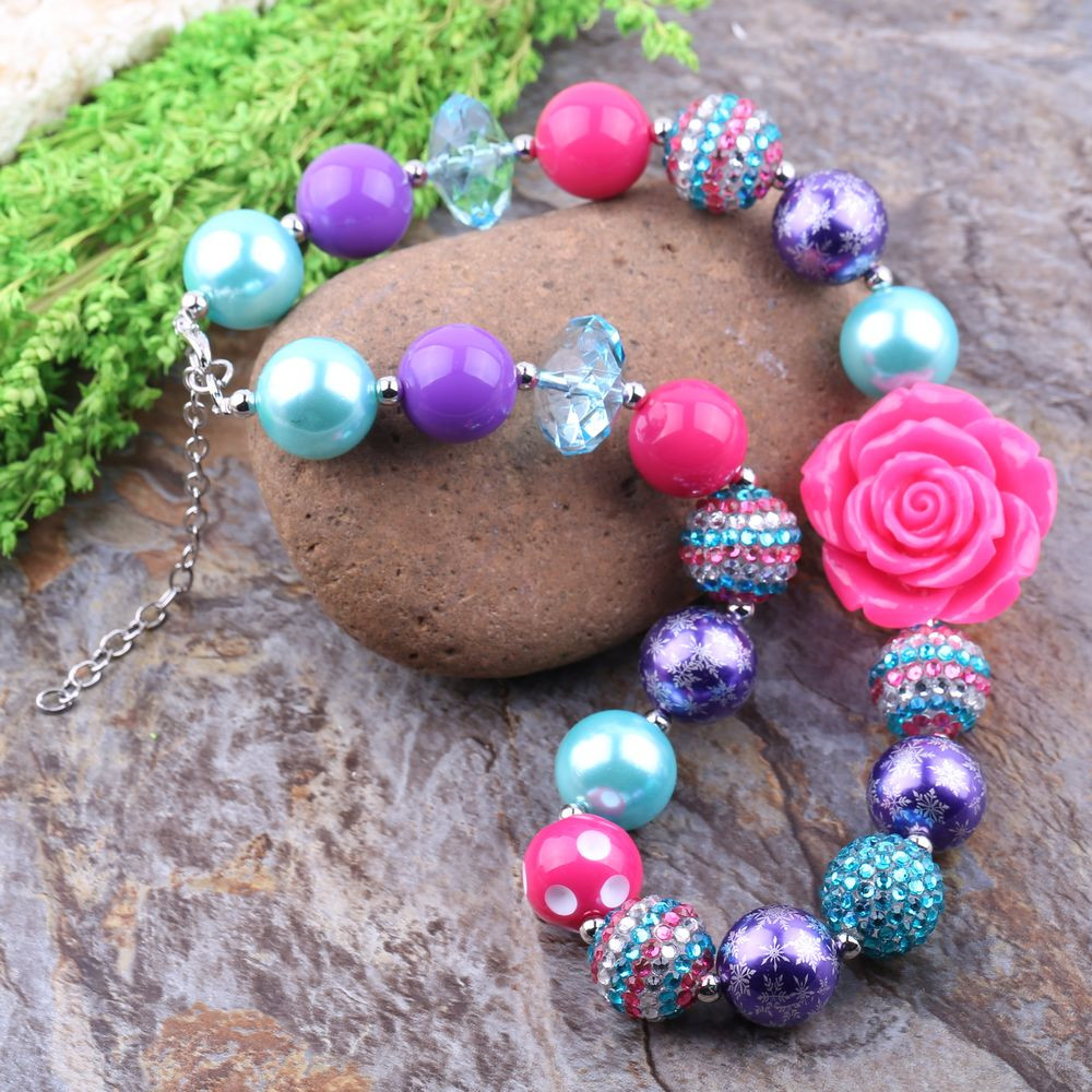 Free Shipping 3Pcs Big Sale Colorful Beads DIY Kids Chunky Bubblegum Necklace Baby Toddler Phote Prop Jewelry Cheap To Wholesale(China (Mainland))