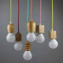 No bulbs 1pcs oak WOOD Muuto E27 socket Chandelier lamp lights Hanging wood holder pendant