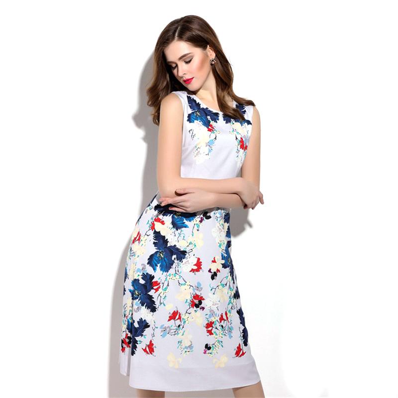 Europe Style Summer Sleeveless Dress 2016 Spring New Women Plus Size Elegant Floral Printed Midi Long Dresses Vestidos 2064Одежда и ак�е��уары<br><br><br>Aliexpress