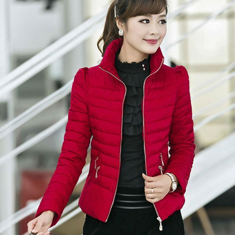 2015 New Fashion Korean Style Women Autumn Stripe Pleated Slim Warm Coat Red OverCoat Yellow Outerwear Winter Jacket nz196 - GT-Watch Store store