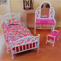 Pink Couch Flooring Lamp Clock Set / Dollhouse Dwelling Room Furnishings Equipment Tee Desk for Barbie Kelly Ken Doll Ladies Reward