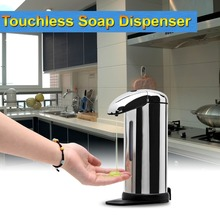 2015 NEW arrival high-end Stainless Steel Hands Free Automatic Touchless IR Sensor Liquid Soap Dispenser for Kitchen Bathroom(China (Mainland))