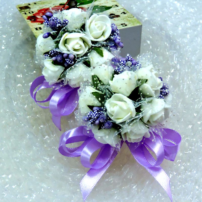 Christmas Pe Wedding Decor Artificial Rose Pip Berry Boutonniere Bride Wrist Corsage Flower White Purple Fl5066(China (Mainland))