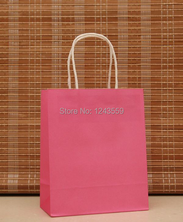 NEW Kraft Paper Bag With Handle,18x15x8cm,Hot Pink Boutique Jewelry Gift Shopping Bag, Fashionable Gift Paper Bag 20pcs/lot(China (Mainland))