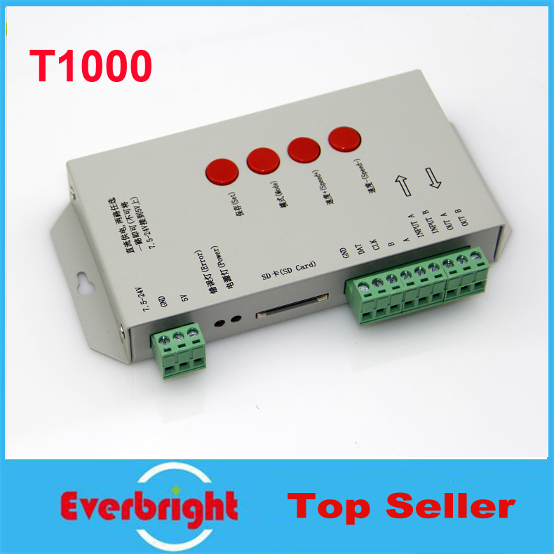 Best Quality T1000S SD Card WS2801 WS2811 WS2812B LPD6803 LED 2048 Pixels Controller DC5~24V T-1000S RGB Controller<br><br>Aliexpress