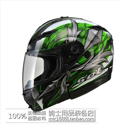 Taiwan genuine SOL SM-1 helmet visor exposing dual lens with LED lights motorcycle helmet motorcycle helmet full helmet run