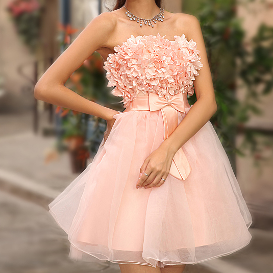 Lovely Girl's Graduation Dresses Formal Girl Short Design Flower Peals Bow Ball Gown Pink Strapless Slim Dress - Beauty Queen is You store