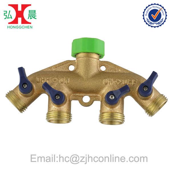 Heavy-duty 4 Way Brass Garden Water Hose Shut off(China (Mainland))