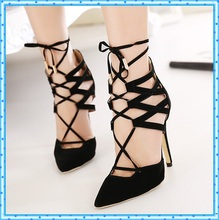 Hot Women Pumps Ladies Sexy Pointed Toe High Heels Fashion Buckle Studded Stiletto High Heel Sandals Shoes lace up Sandals D134