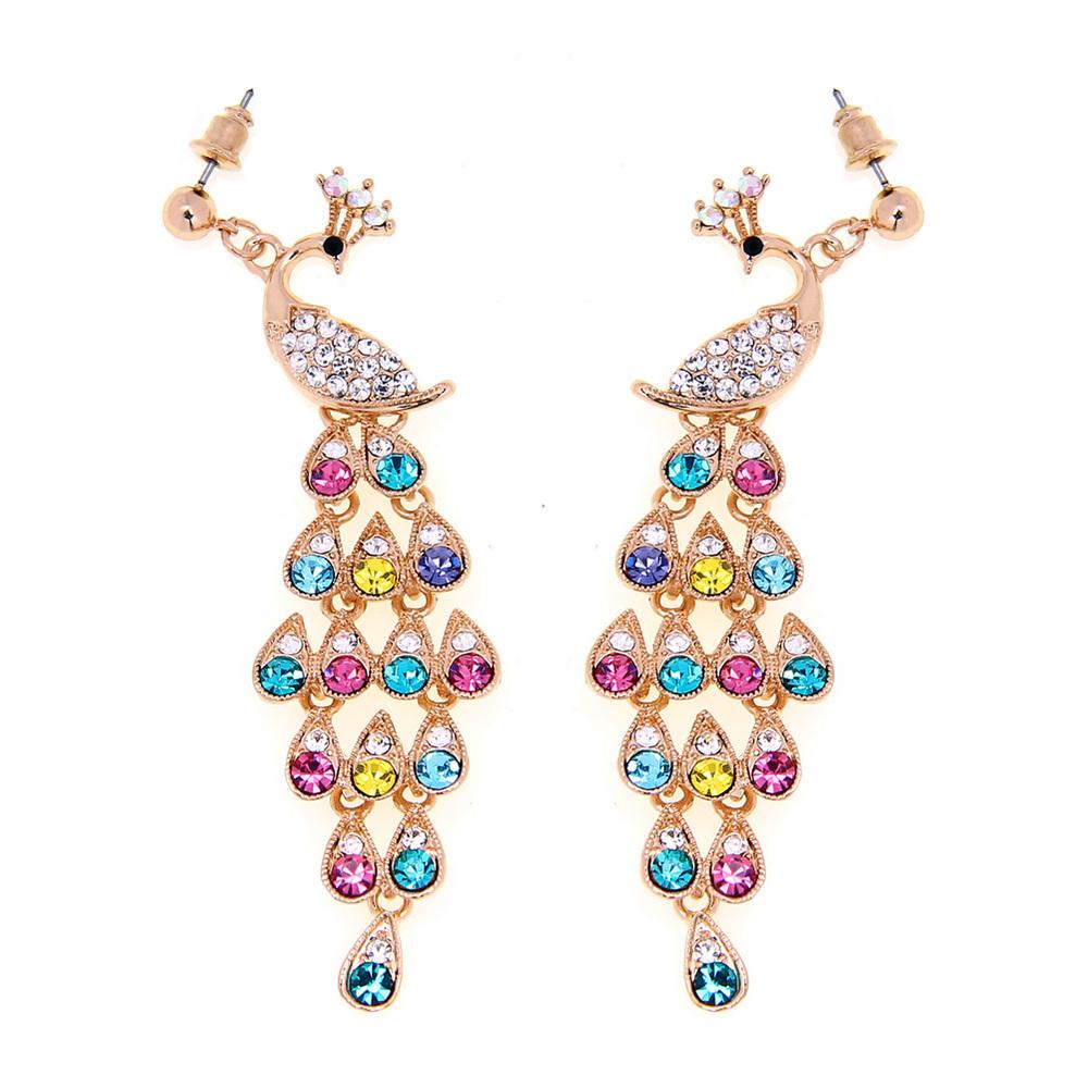 Fashion Gold Crystal Colourful Peacock Drop Earrings Eardrops Dangle Earring Fashion Jewelry(China (Mainland))