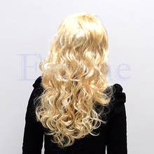 Sexy Fashion Blonde Lady Long Wavy Curly Fancy Dress Party Full Wig Hair(China (Mainland))