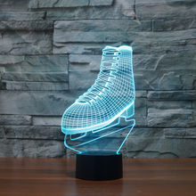 Creative Sport Ice Hockey Skating boots Visual Night Light NHL ICE SKATING Roller skates Design Lamp Colorful Bedroom Lighting(China (Mainland))