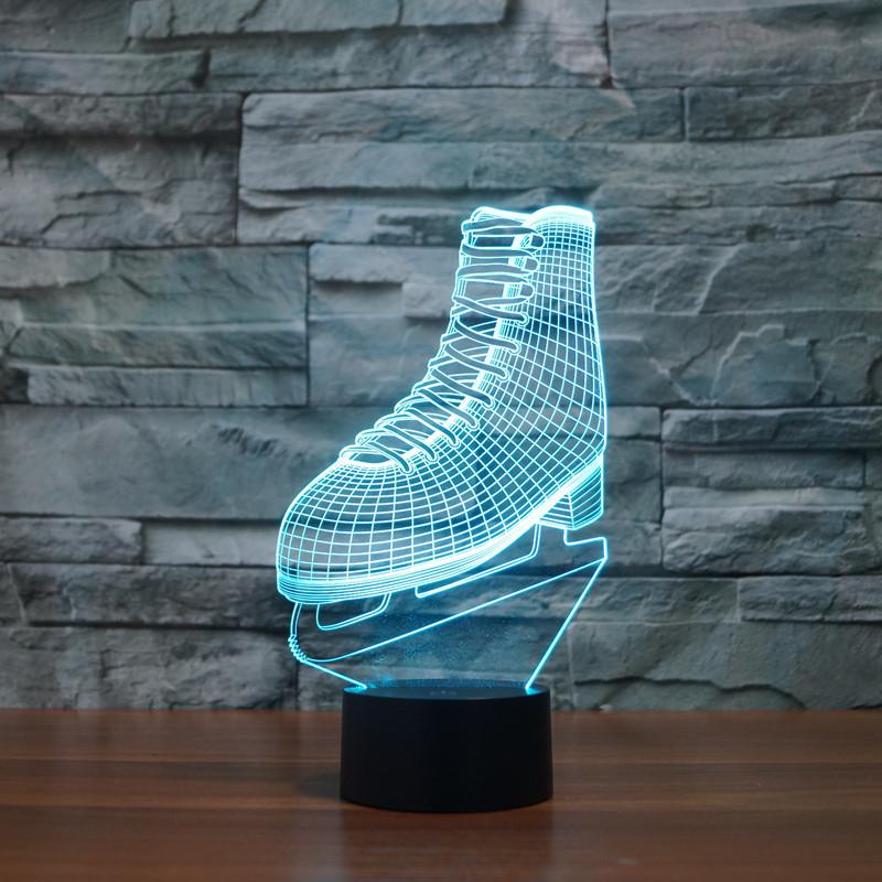 Creative Sport Ice Hockey Skating boots Visual Night Light NHL ICE SKATING Roller skates Design Lamp Colorful Bedroom Lighting(China (Mainland))