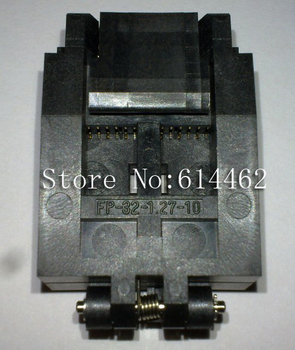 The FP-32-1.27-10 from Enplas is a 32 way Clamshell socket for SOP, for use in test and burn-in FP-32-1.27-10