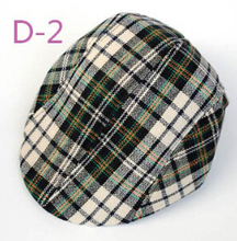 Cute Kids Toddler Flax Cap Newsboy Ivy Hat Classic Plaid hat Check Beret Sun Flat Child caps For baby boy Girl Free shipping(China (Mainland))