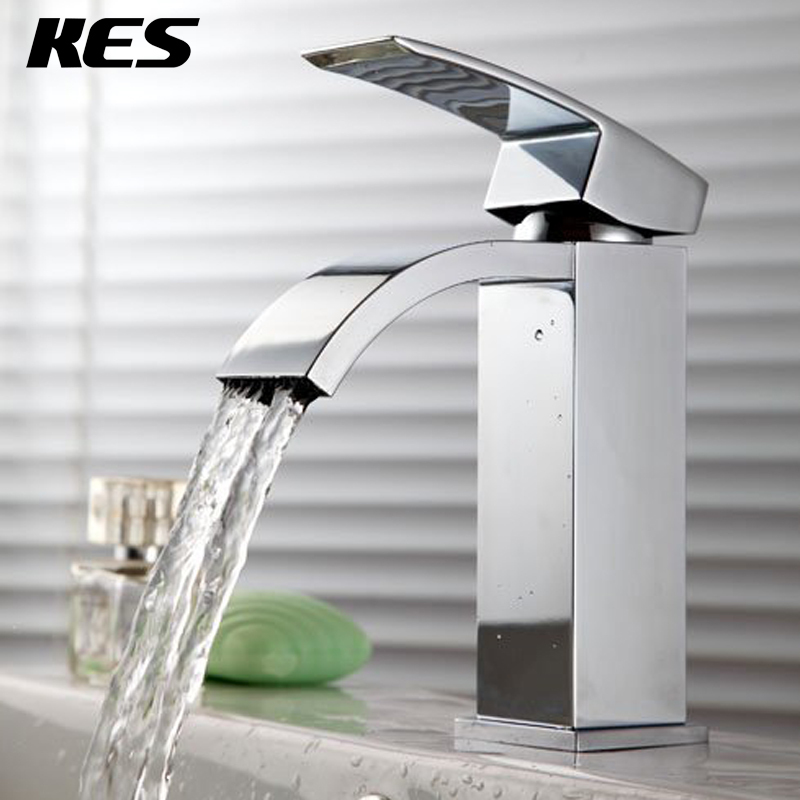 KES L3109A Single Handle Waterfall Bathroom Vanity Sink Faucet with Extra Large Rectangular Spout, Chrome(China (Mainland))