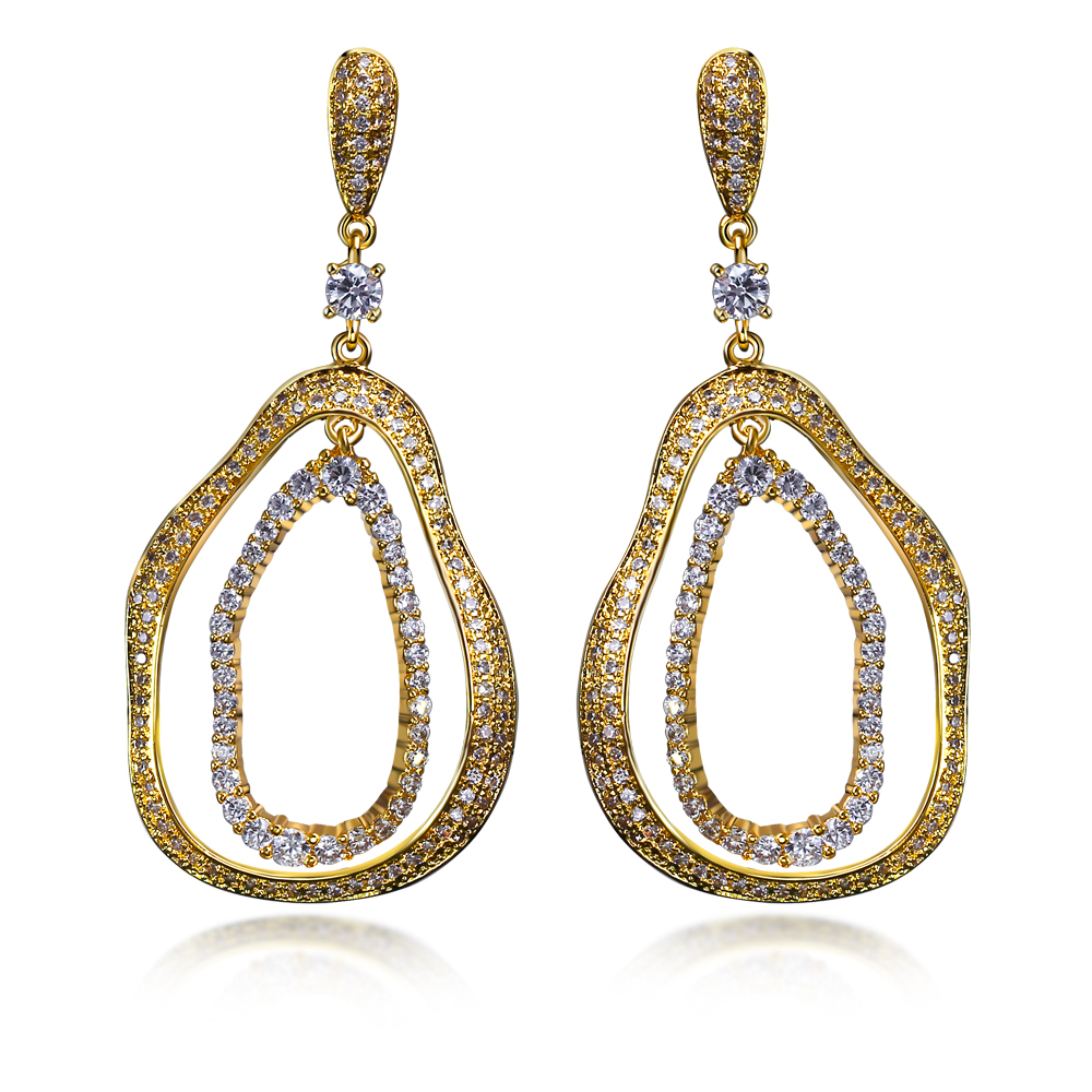 New Long Earrings Fully Jewelled Jewelry Copper Metal Cubic Zirconia Stones Lady Earrings(China (Mainland))