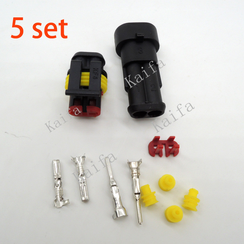 5 sets Kit 2 Pin Way AMP Super seal Waterproof Electrical Wire Connector Plug for car free shipping with registered(China (Mainland))