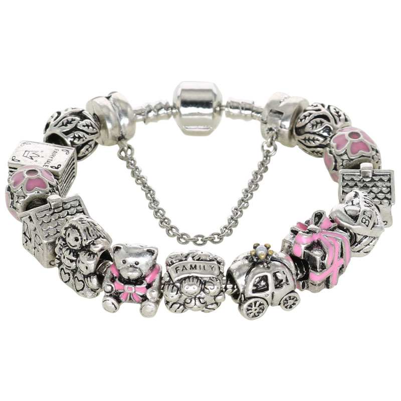 Silver Original Charm Bracelets Official Design Beads For New Year Jewelry Gifts Fit Women's Fashion Charmed Bracelets NB47(China (Mainland))
