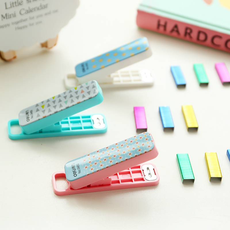 Geometric manual stapler No. 10 color Staples set Mini grapadora papelaria Stationery office accessories school supplies 6573(China (Mainland))