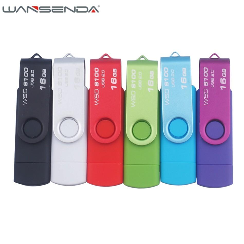 Fast speed New Brand 64gb Wansenda OTG Android Smart Phone 32gb usb flash 16gb drive pen drive  8gb 4gb USB Stick Memory Disk
