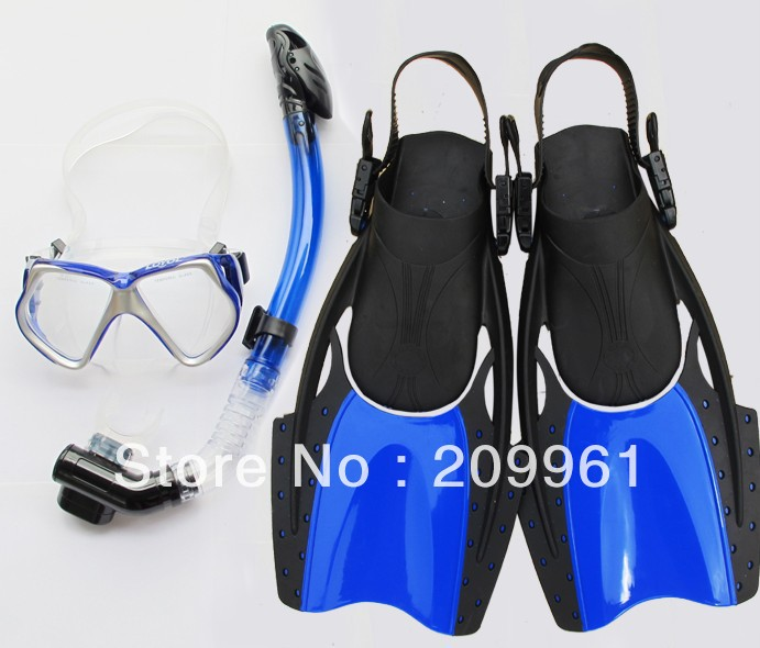 LOYOL 2 color high quality diving mask full dry snorkel Breathing tube web-footed swimming Fins flippers Under Water Swiming(China (Mainland))