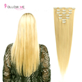 Blonde Color Clip In Human Hair Extensions 613 Peruvian Hair Clip In Extensions Straight Clip In