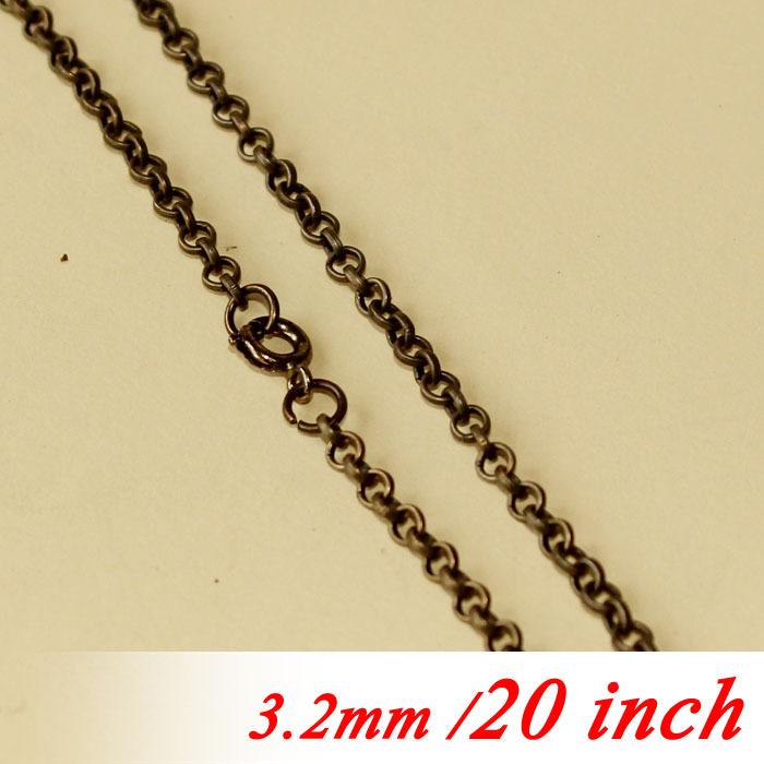 3.2mm Circle Rolo Fashion Jewelry Links Bulk 20 Metal Necklace Chains For Pendants diy With Round Clasps Bronze Plated Findings<br><br>Aliexpress