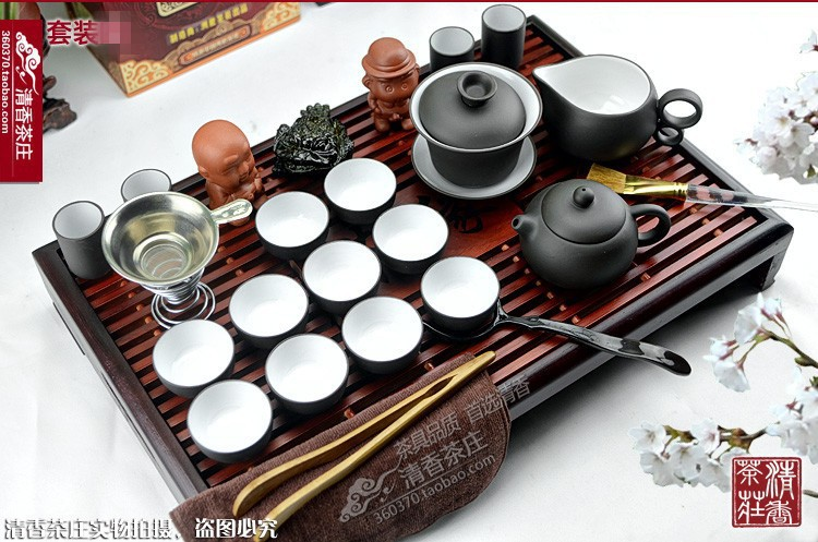 Instocked Tea set purple kung fu tea solid wood tea tray pallet